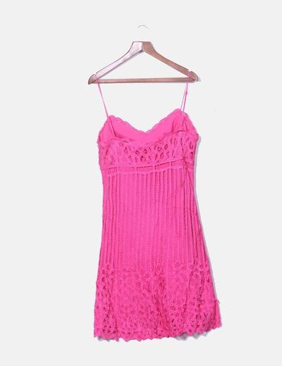 ef4f6cea5 Olimara Vestido rosa fucsia crochet (descuento 82%) - Micolet