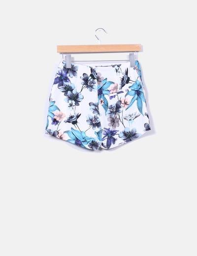 Shorts tiro alto estampado floral