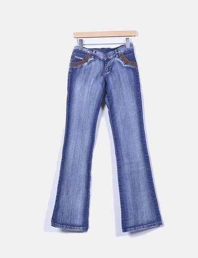 Jeans denim campana bolsillos combinados Diesel