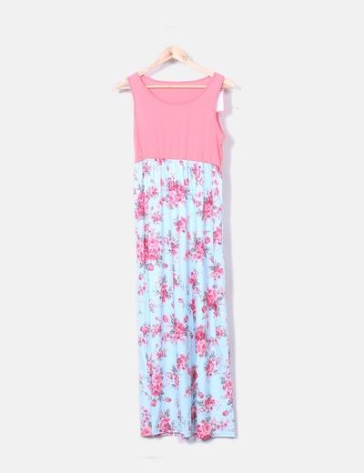 Vestido azul y rosa floral maternity