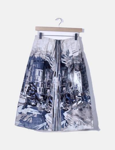 Falda midi estampada azul
