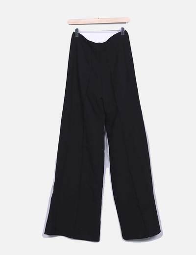 Pantalon fluido negro con cremallera