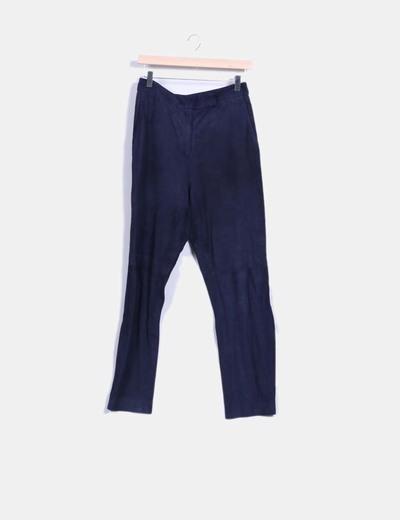 Pantalón azul marino de ante Uterqüe