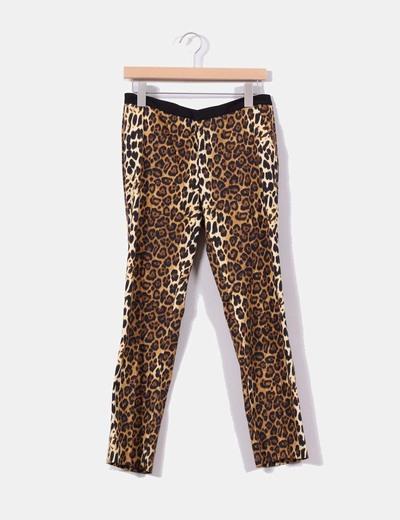 Pantalón de pinzas print leopardo Zara