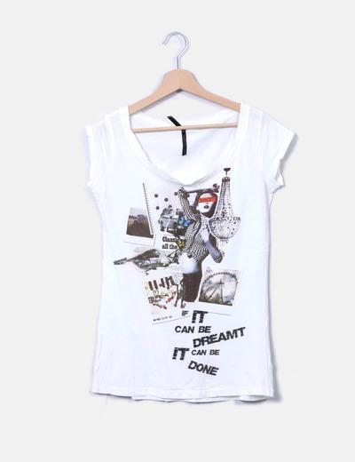 T-shirt blanc imprimé Stradivarius