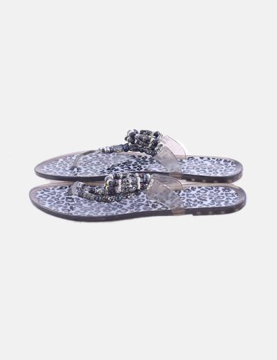 Chancla gris abalorios con animal print