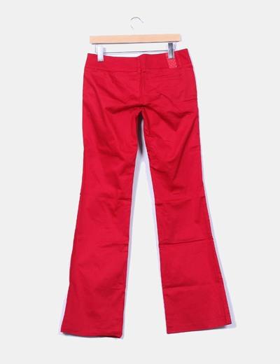 Pantalon de pinzas granate campana