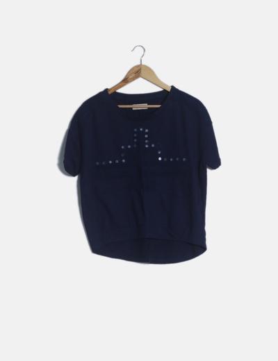 Camiseta azul marino tail hem