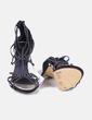 Sandales à talons noires avec strass Suiteblanco