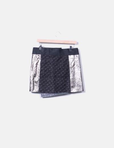 Falda mini combinada bicolor
