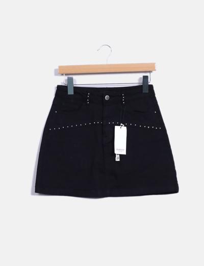 Falda midi negra Stradivarius