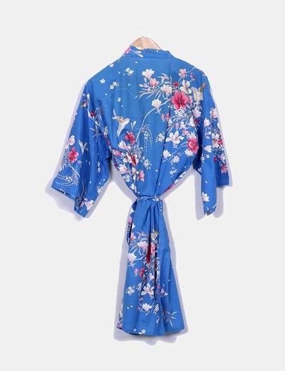 Kimono largo azul estampado