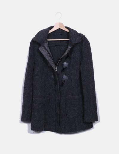 Trenca gris oscura de lana Made in Italy