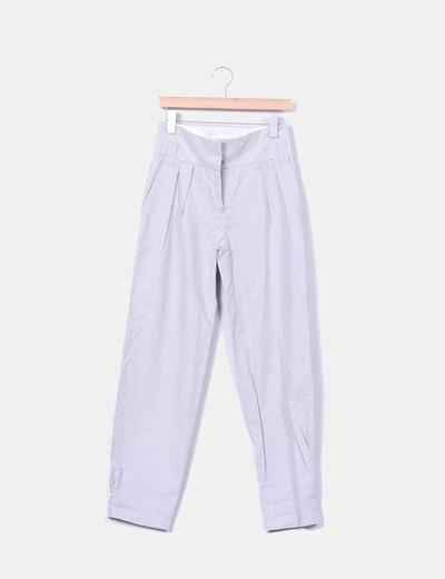 Pantalón de pinzas rayas grises Mango