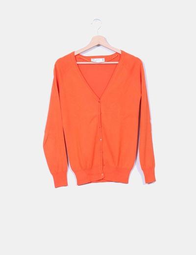 Chaqueta de punto naranja Zara