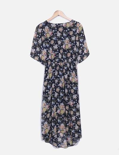 Vestido de gasa floral con abertura