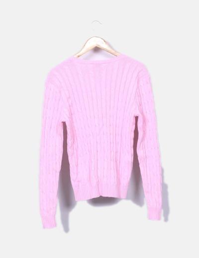 Jersey de ochos rosa escote pico