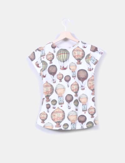 Camiseta manga corta print globos retro