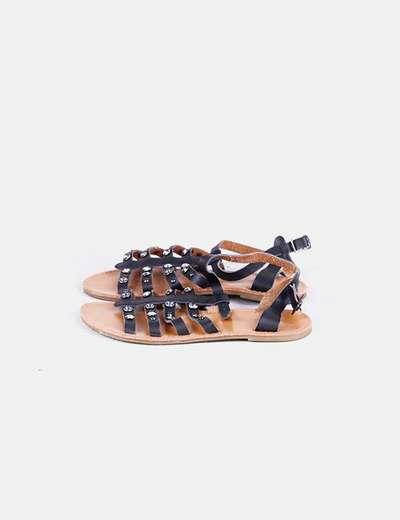 Sandalia plana tiras con strass