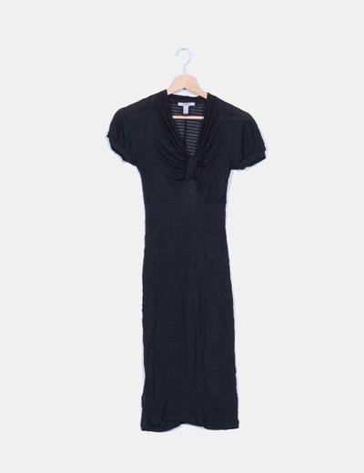 Vestido negro semitransparente Mango