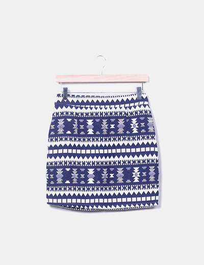 Mini falda jacquard azul marino