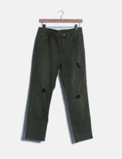 Jeans denim verde ripped