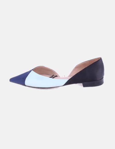 Zapato tricolor satinado negro y azul