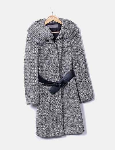 Casaco de lã com cinto Zara