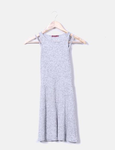 Vestido jaspeado de canalé