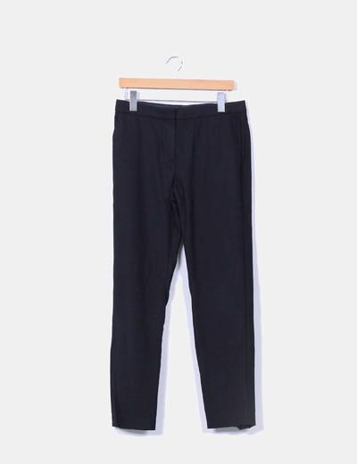 Pantalón negro texturizado Massimo Dutti