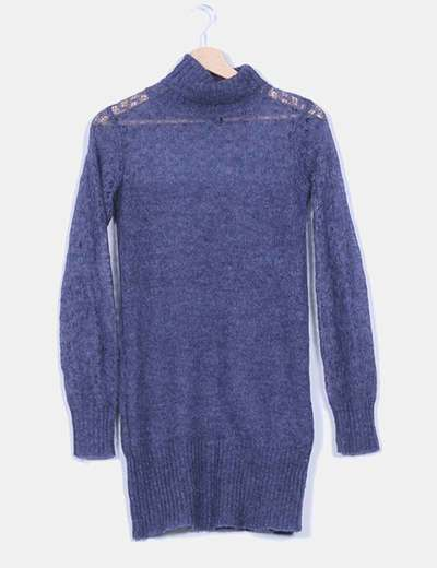 Jersey azul marino cuello vuelto Mango