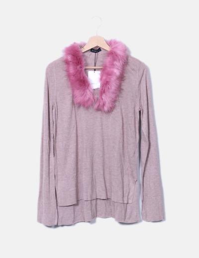 Jersey de punto cuello con pelo Zara