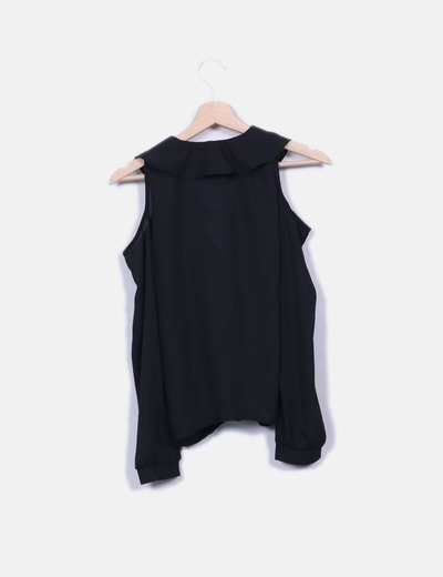 Blusa gasa negra con aberturas
