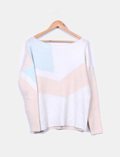 Jersey de punto rosa blanco y azul Zara