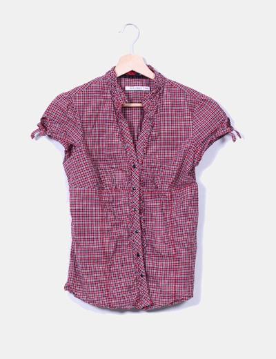 Blusa roja de cuadros Bershka