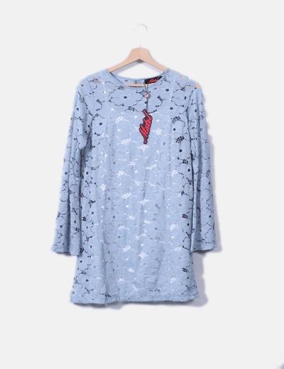 Vestido azul crochet Motel