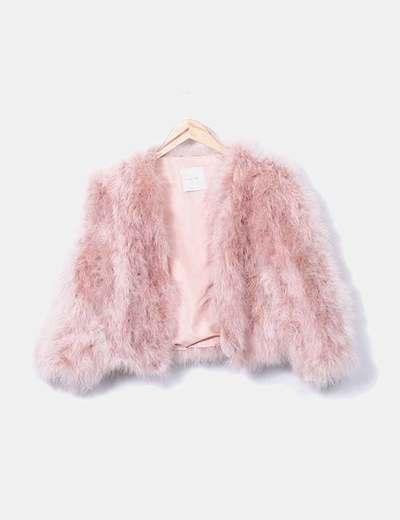 Chaquetón de pluma de pavo rosa