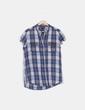 Camisa cuadros azul sin mangas Mango