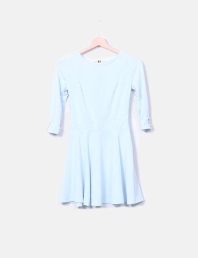 Vestido manga larga azul claro