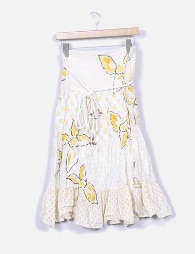 Falda midi cruda estampada