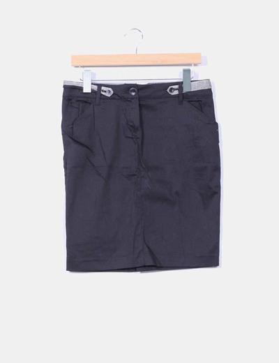 Falda midi negra Mango