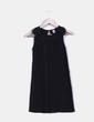 Vestido negro con doble textura en cuello Zara