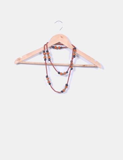 Maxi collar naranja de madera NoName