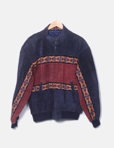 Veste deux couleurs en cuir oversize adler