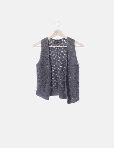 Chaleco tricot gris con paillettes