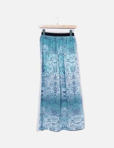 Falda turquesa animal print Venca