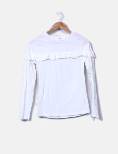 Camiseta blanca con volante Sense
