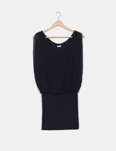 Vestido negro combinado Pimkie