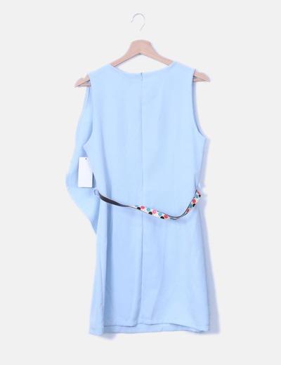 Vestido Azul Celeste Con Cinturón