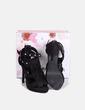 Sandalia negra de antelina con flecos Sun Color